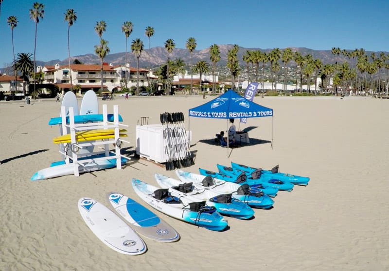 paddle board lesson and kayak rental stand