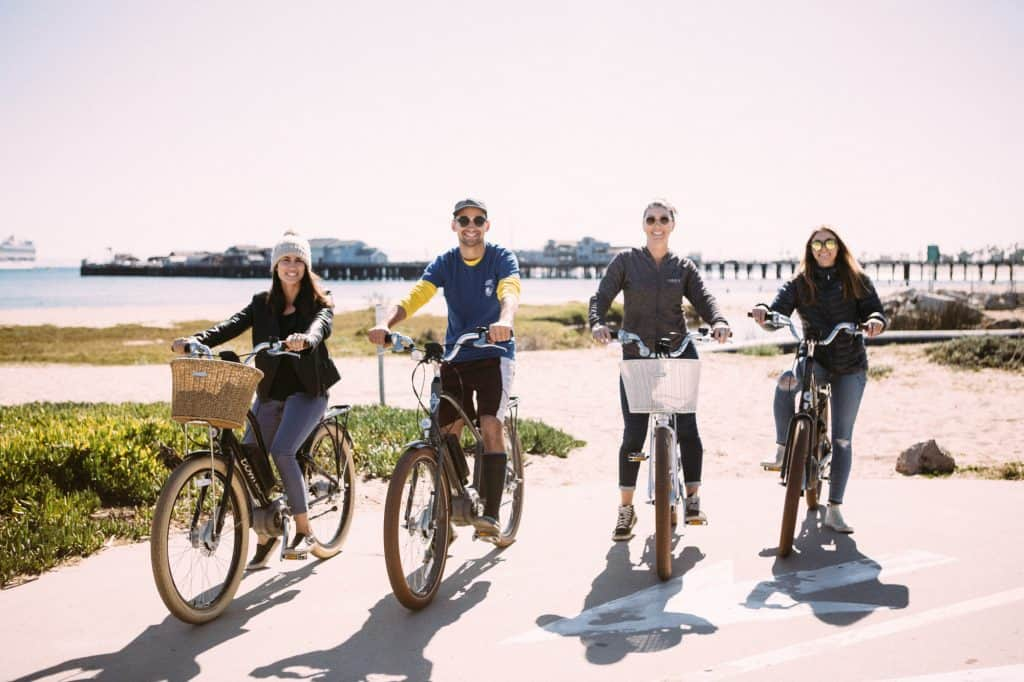 Group Bike Rental with Views of the Pier and Beach