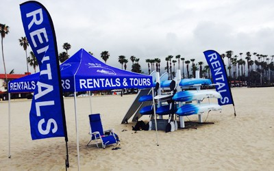 kayak rental stand on west beach